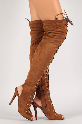 Breckelle Lace Up Back Cut Out Over The Knee Boot - Beauty & Bronze Clothing and Accessories
