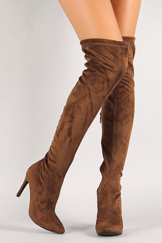 Breckelle Vegan Suede Stiletto Over-The-Knee Boot - Beauty & Bronze Clothing and Accessories