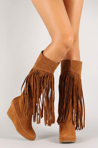 Suede Fringe Knee High Wedge Boot - Beauty & Bronze Clothing and Accessories