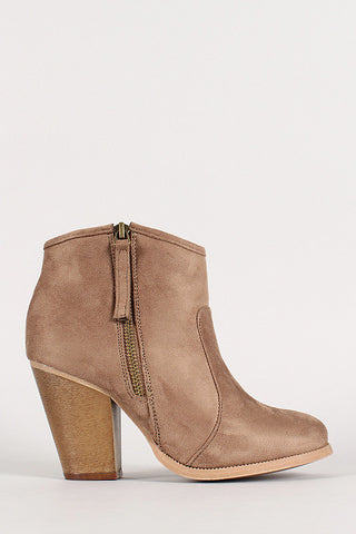 Liliana Zipper Chunky Heeled Western Ankle Boots - Beauty & Bronze Clothing and Accessories
