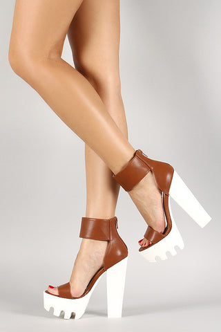 Wild Diva Lounge Two Tone Lug Sole Open Toe Heel - Beauty & Bronze Clothing and Accessories