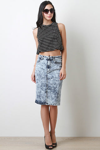 Mineral Wash Midi Denim Skirt