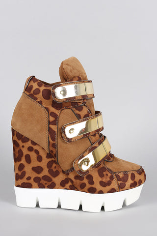 Dollhouse Leopard Metallic Strap High Top Wedge Sneaker - Beauty & Bronze Clothing and Accessories