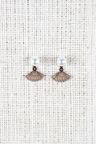 Pearl Fan Ear Jacket Earrings - Beauty & Bronze Clothing and Accessories