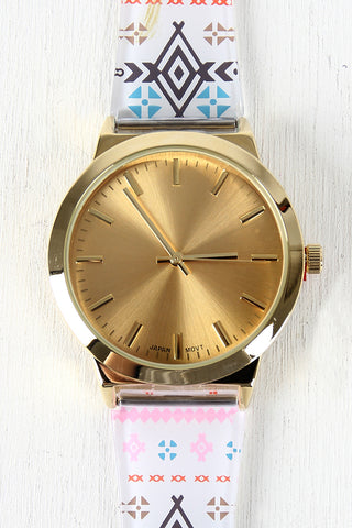 Multicolor Tribal Print Watch - Beauty & Bronze Clothing and Accessories