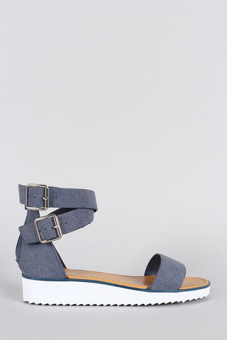 Bamboo Nubuck Ankle Straps Flatform Sandal - Beauty & Bronze Clothing and Accessories