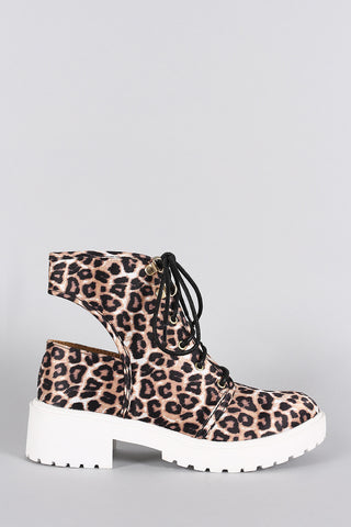 Qupid Leopard Round Toe Lace Up Cutout Booties - Beauty & Bronze Clothing and Accessories