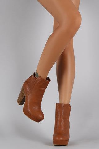 Wild Diva Lounge Criss-Cross Stitching Platform Chunky Heeled Booties - Beauty & Bronze Clothing and Accessories