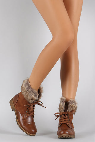 Bamboo Combat Faux Fur Ankle Cuff Lug Sole Booties - Beauty & Bronze Clothing and Accessories