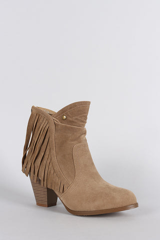 Suede Fringe Ruched Round Toe Heeled Western Ankle Boots - Beauty & Bronze Clothing and Accessories