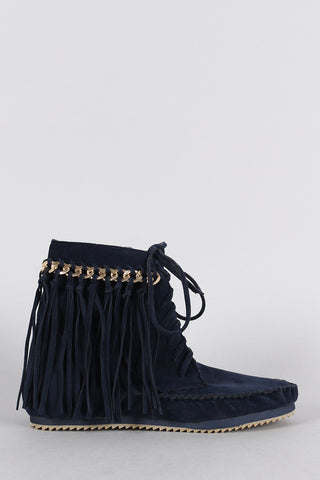Bamboo Suede Link Chain Fringe Lace Up Moccasin Flat Booties - Beauty & Bronze Clothing and Accessories