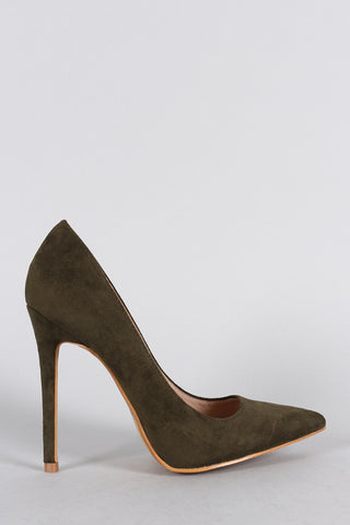 Shoe Republic LA Suede Pointy Toe Stiletto Pump - Beauty & Bronze Clothing and Accessories