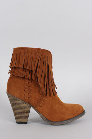 Suede Asymmetrical Fringe Chunky Stacked Heeled Ankle Boots - Beauty & Bronze Clothing and Accessories