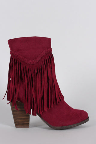 Breckelle Suede Braided Fringe Heeled Ankle Boots - Beauty & Bronze Clothing and Accessories