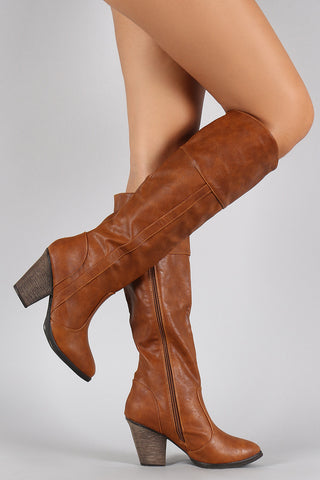 Dollhouse Cowgirl Chunky Heeled Knee High Boots - Beauty & Bronze Clothing and Accessories