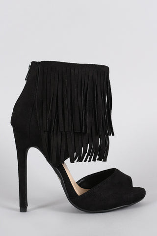 Delicious Fringe Tiers Ankle Cuff Peep Toe Heel - Beauty & Bronze Clothing and Accessories