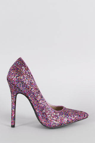 Glitter Pointy Toe Single Sole Stiletto Pump - Beauty & Bronze Clothing and Accessories