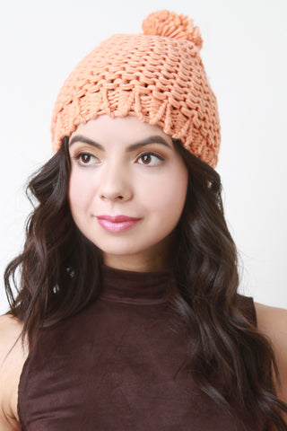 Loose Knit Pom Pom Beanie - Beauty & Bronze Clothing and Accessories