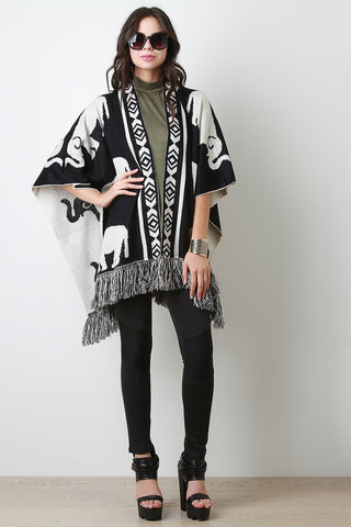 Elephant Draping Fringe Cape - Beauty & Bronze Clothing and Accessories