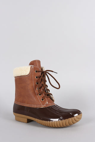 Faux Shearling Cuff Lace Up Duck Ankle Boots - Beauty & Bronze Clothing and Accessories