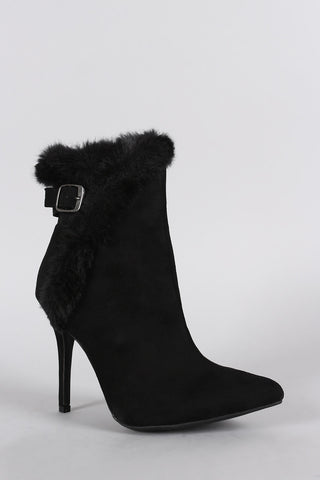 Anne Michelle Buckle Faux Fur Collar Pointy Toe Stiletto Ankle Boots - Beauty & Bronze Clothing and Accessories