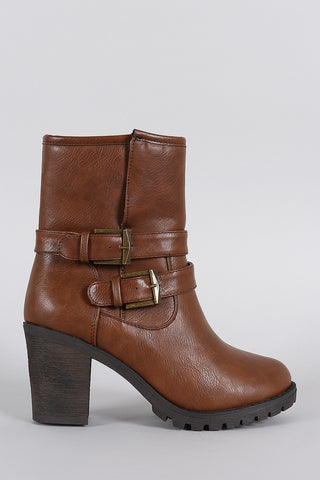 Slit Moto Lug Chunky Heel Ankle Boots - Beauty & Bronze Clothing and Accessories