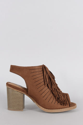 Soda Suede Fringe Peep Toe Mule Chunky Heel - Beauty & Bronze Clothing and Accessories