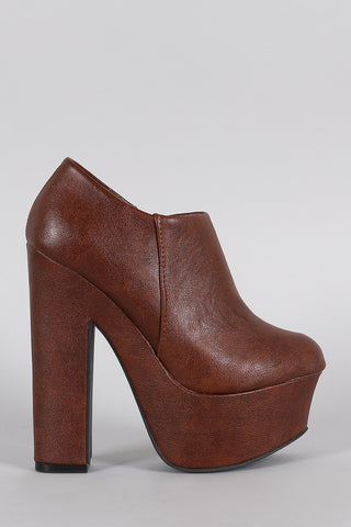 Dollhouse Round Toe Platform Heeled Booties - Beauty & Bronze Clothing and Accessories