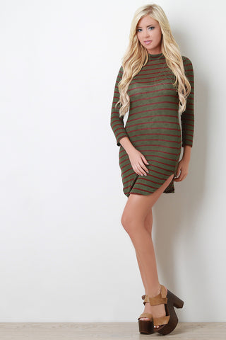 Stripe Knit Mock Neck Mini Dress - Beauty & Bronze Clothing and Accessories