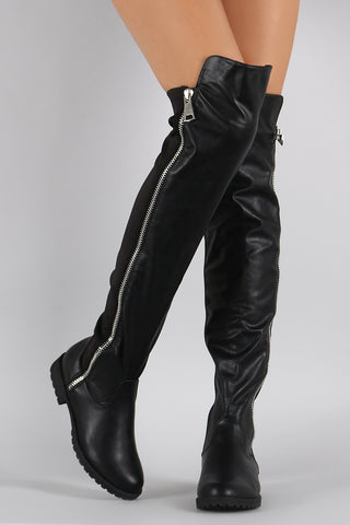 Bamboo Zipper Stretchy Over-The-Knee Riding Boots - Beauty & Bronze Clothing and Accessories