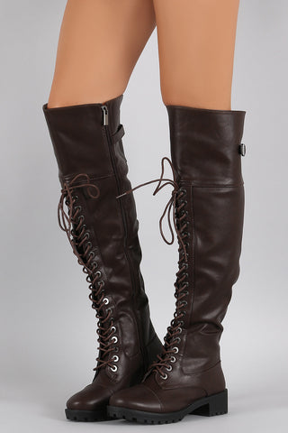 Dollhouse Round Toe Lace Up Combat Over-The-Knee Boots - Beauty & Bronze Clothing and Accessories
