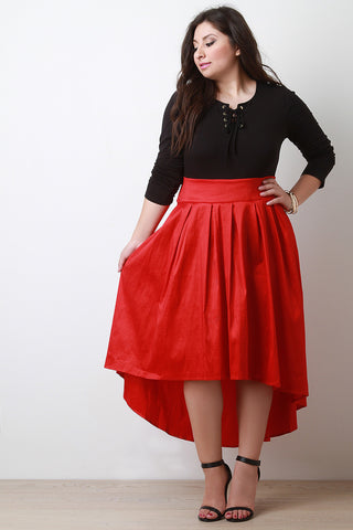Pleated Taffeta High-Low Skirt - Beauty & Bronze Clothing and Accessories