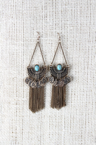 Ancient Semi-Circle Fringe Chain Earrings - Beauty & Bronze Clothing and Accessories