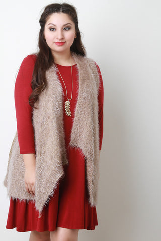 Back Contrast Knit Sleeveless Drape Faux Fur Vest - Beauty & Bronze Clothing and Accessories