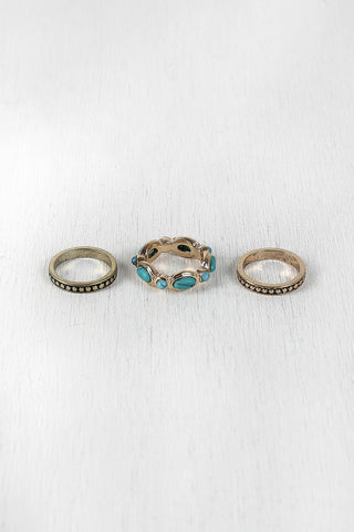 Engraved Stone Ring Set - Beauty & Bronze Clothing and Accessories