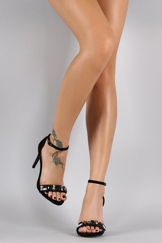 Anne Michelle Suede Jeweled Ankle Strap Stiletto Heel - Beauty & Bronze Clothing and Accessories