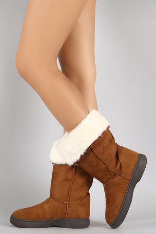 Bamboo Suede Fur Cuff Mid Calf Flat Boots - Beauty & Bronze Clothing and Accessories