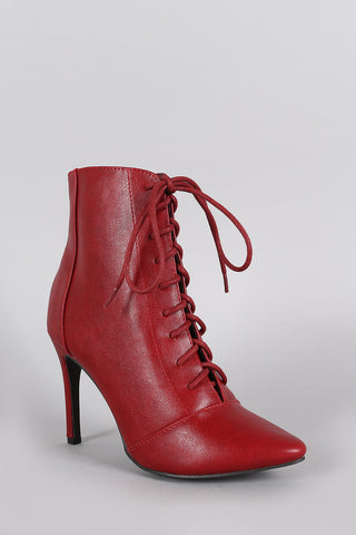 Breckelle Pointy Toe Lace Up Heeled Ankle Boots - Beauty & Bronze Clothing and Accessories