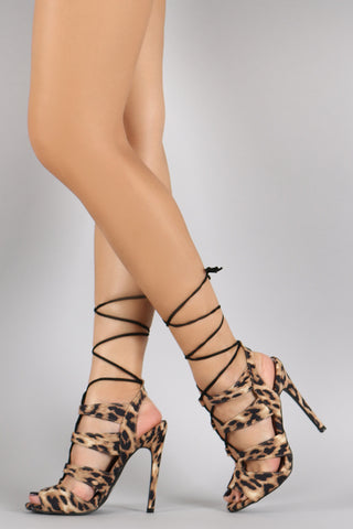 Qupid Leopard Corset Lace Up Peep Toe Stiletto Heel - Beauty & Bronze Clothing and Accessories