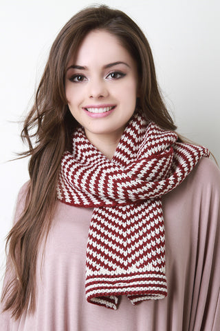 Chevron Conveyor Pattern Buttoned Scarf - Beauty & Bronze Clothing and Accessories