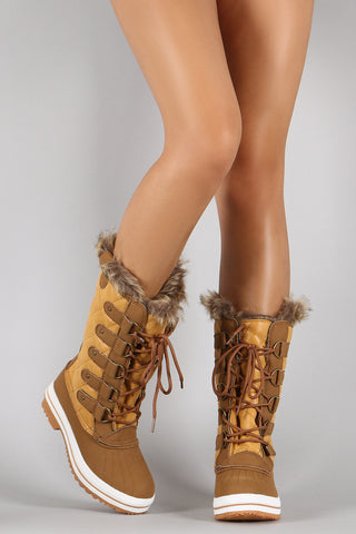 Quilted Faux Fur Cuff Lace Up Mid Calf Boots - Beauty & Bronze Clothing and Accessories