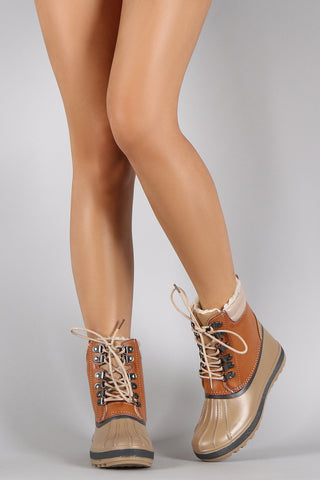 Bamboo Ridge Lace Up Duck Booties - Beauty & Bronze Clothing and Accessories