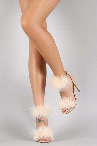 Feather Ankle Strap Single Sole Stiletto Heel - Beauty & Bronze Clothing and Accessories