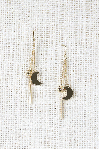 Moon And Rod Drop Earrings - Beauty & Bronze Clothing and Accessories