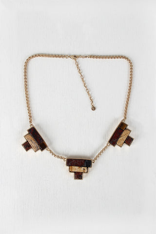 Colorblock Pendant Necklace - Beauty & Bronze Clothing and Accessories
