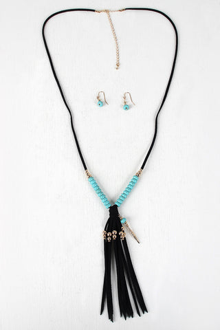Beads And Feather Suede Fringe Necklace Set - Beauty & Bronze Clothing and Accessories