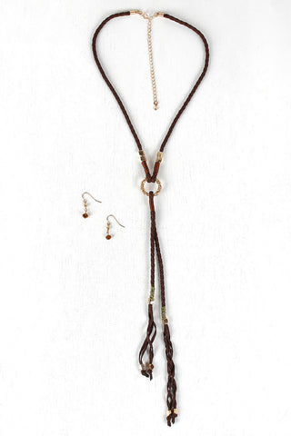 Braided Cube Beads Vegan Leather Necklace Set - Beauty & Bronze Clothing and Accessories