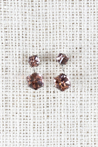 Crystal Cube Jacket Earrings - Beauty & Bronze Clothing and Accessories