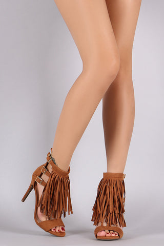 Wild Diva Lounge Buckled Suede Fringe Stiletto Heel - Beauty & Bronze Clothing and Accessories