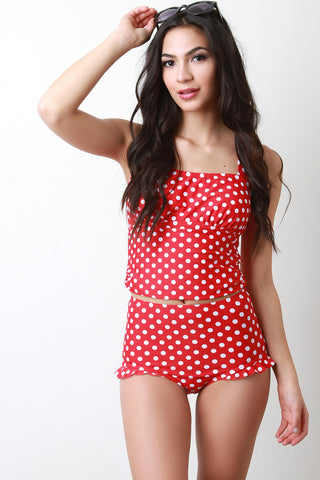 Polka Dots High Waisted Tankini Set - Beauty & Bronze Clothing and Accessories
